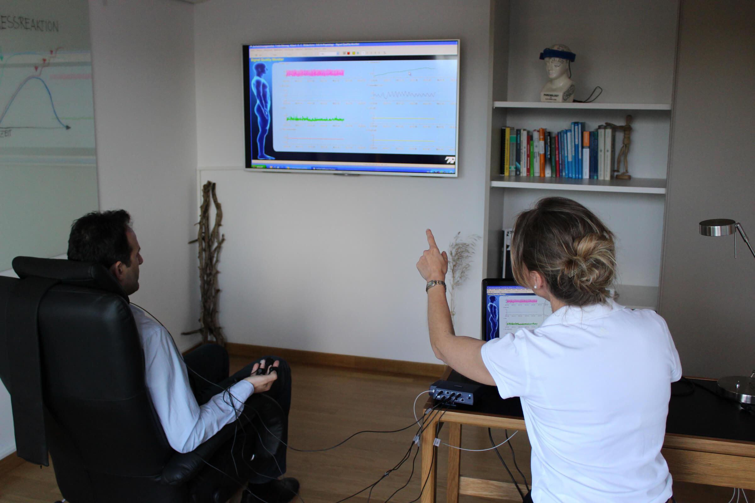 Verschiedene Messsensoren und ein aufwändiges Computerprogramm erfassen gleichzeitig</br>mehrere (autonom ablaufende) Körpersignale, werten diese aus und zeigen sie auf einem Bildschirm an.</br>Eine Darstellung (= Rückmeldung) der Signale ist in visueller und/oder auditiver Form möglich.